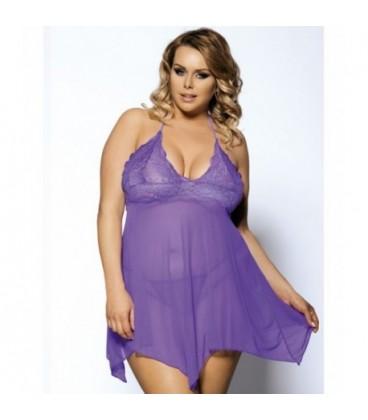 plus size lingerie Purple Plus Size Halter Lace Top Babydoll