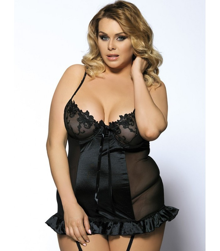 d62599f2aa3 Buy Black Croch Back Floral Bra Plus Size Babydoll- Plus size lingerie