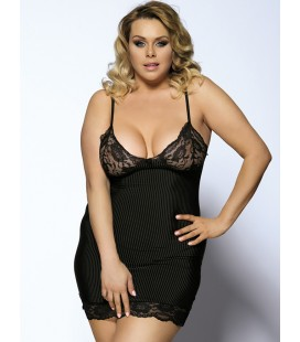 Black Vertical Stripe Plus Size Babydoll With Lace Strim