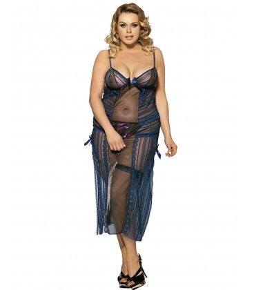 plus size lingerie Long Transparent Plus Size Lingerie Dress