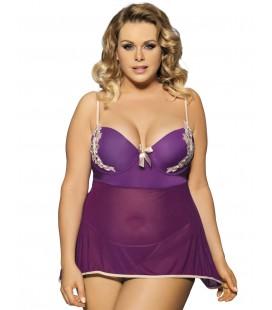 plus size lingerie Purple Stylish Plus Size Floral Cup Babydoll
