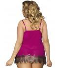 plus size lingerie Purple Eyelash Plus Size Half Cup Babydoll