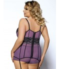 plus size lingerie Purple Mesh And Metallic Lace Plus Size