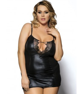 Black Plus Size Leather Chemise With Lace Eyelash