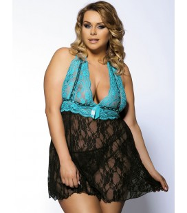 plus size lingerie Halter Sheer Blue And Black Lace Plus Size