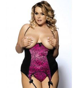 Rosy And Black Plus Size Leather Halter Open Cup Bustier
