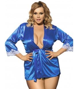 Blue Plus Size Silky Home Pajamas With Waist Belt