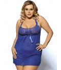 Blue Lace Top Halter Plus Size Babydoll