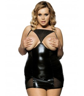 plus size lingerie Black Open Cup Leather Plus Size Babydoll