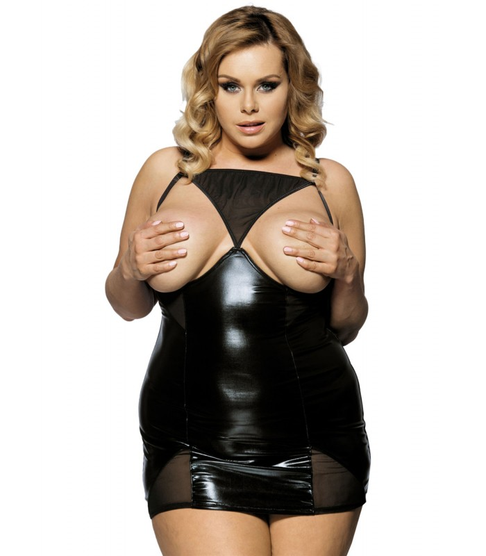 Plus Size LingerieBlack Open Cup Leather Plus Size Babydollxs-4xl r70338p