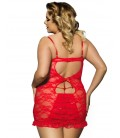 plus size lingerie Red Plus Size Floral Lace And Mesh Lingerie