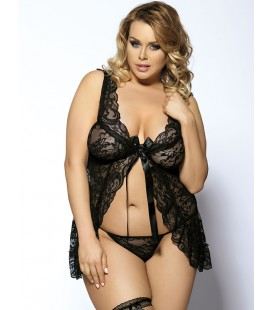 Black Floral Sheer Lace Fly-Away Plus Size Babydoll