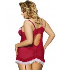 plus size lingerie Red Plus Size Babydoll With Lace Trim