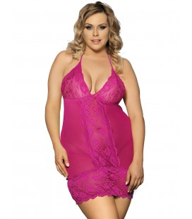 Rosy Plus Size Croch Back Lace Mesh Halter Babydoll