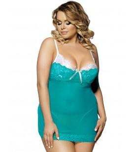 Green Plus Size Sexy Babydoll Set Mesh & Lace