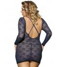 plus size lingerie Blue Plus Size Long Sleeve Croch Back