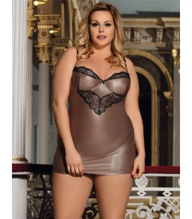 Plus Size Glamorous Leather Chemise