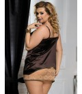 plus size lingerie Plus Size Brown Gored Babydoll