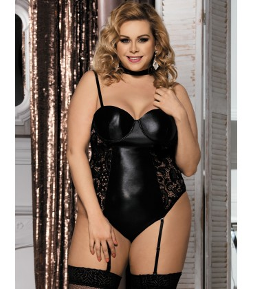 plus size lingerie Black Plus Size Teddy With Ring