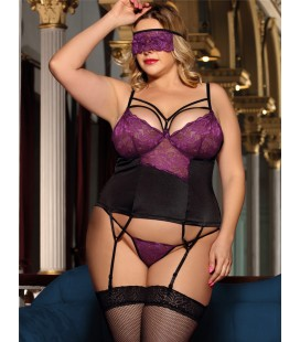 Plus Size Purple lace bustier lingerie set with bra rim