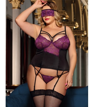 plus size lingerie Plus Size Purple lace bustier lingerie set
