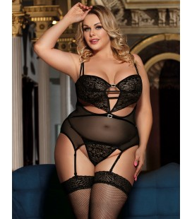 plus size lingerie Plus Size Elegant Black Babydoll With Garter