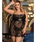 Plus size sexy black eyelash trim lace babydoll set