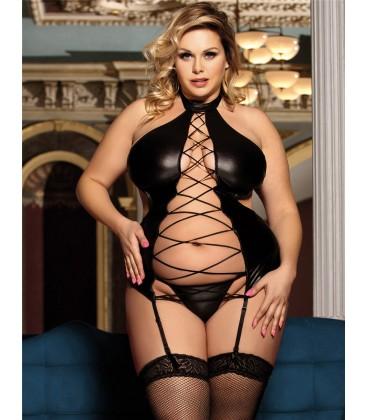 62e3d558fa Plus Size Black Sexy Lady Leather Lingerie