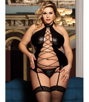 plus size lingerie Plus Size Black Sexy Lady Leather Lingerie