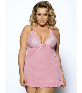 plus size lingerie Plus Size Pink Halter Floral Bra Babydoll