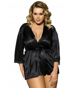 Black Silky Plus Size Home Pajamas With Belt