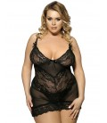 plus size lingerie Black Transparent Embroidered Lace Plus Size