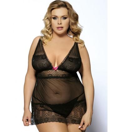 plus size lingerie Black Plus Size V Neck Transparent Floral
