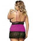 plus size lingerie Rosy Plus Size Open Back Floral Lace Babydoll