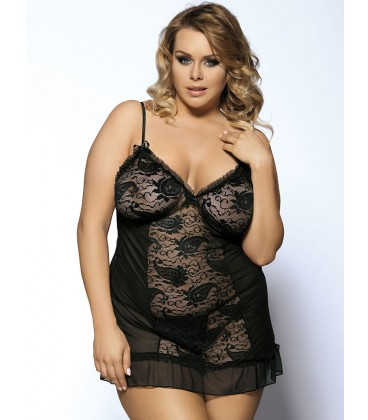 plus size lingerie Black Plus Size Floral Lace Front&Croch Back