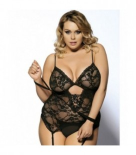 Black Sexy Lace Plus Size Teddy With Handcuffs