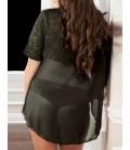 plus size lingerie Plus Size Black Lace Two-piece Sexy Teddy