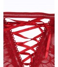 Plus Size Red Lace Open Bust Bra And Garter Panty Set With Steel Ring