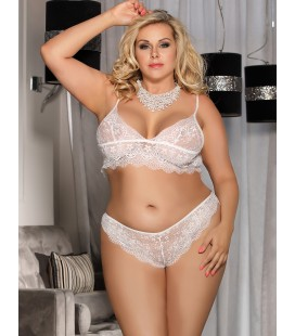 Plus Size white Lace Temptation 2pcs Bralette Lingerie Set