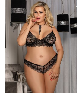 Plus Size Black Lace Temptation 2pcs Bralette Lingerie Set