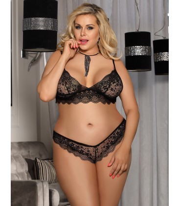 plus size lingerie Plus Size Black Lace Temptation 2pcs