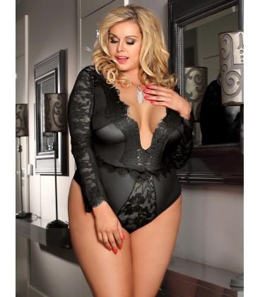 86c6e676342 ... Long-sleeved Teddy. plus size lingerie Plus Size Black Eyelashes Lace  Open-chest