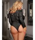 plus size lingerie Plus Size Black Eyelashes Lace Open-chest