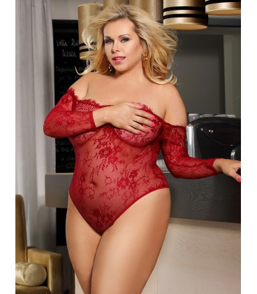 plus size lingerie Plus Size Red Eyelashes Lace Long-sleeved