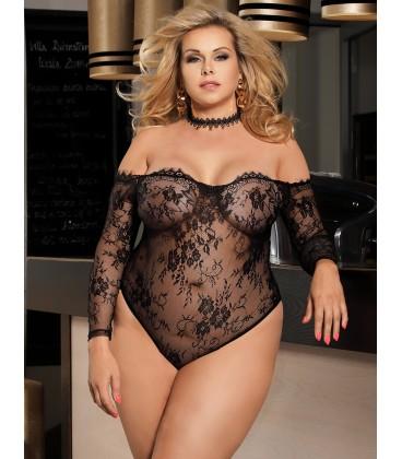 7baf4ce63c0 Buy Plus Size Black Eyelashes Lace Long-sleeved Teddy- Plus size