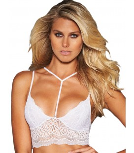 Plus Size White Seductive Strappy Lace Bralette Top