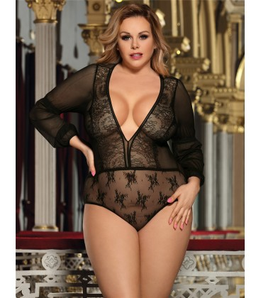 plus size lingerie Plus Size Exquisite Black Lace Sleeve Teddy