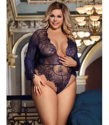 feeabf461 Buy Plus Size Exquisite Lace Sleeve Teddy- Plus size lingerie