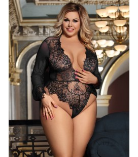 Plus Size Exquisite Lace Sleeve Teddy