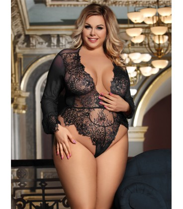 5f85a6affb679 Plus Size Exquisite Lace Sleeve Teddy